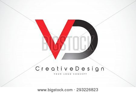 Red And Black Vd V D Letter Logo Design In Black Colors. Creative Modern Letters Vector Icon Logo Il