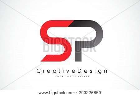 Red And Black Sp S P Letter Logo Design In Black Colors. Creative Modern Letters Vector Icon Logo Il