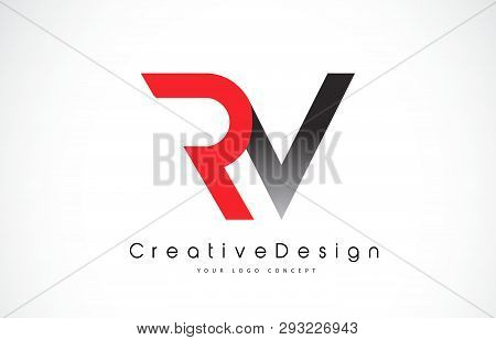 Red And Black Rv R V Letter Logo Design In Black Colors. Creative Modern Letters Vector Icon Logo Il