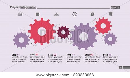 Six Step Process Chart With Cogwheel Design. Element Of Chart, Diagram, Slide Templates. Concept For
