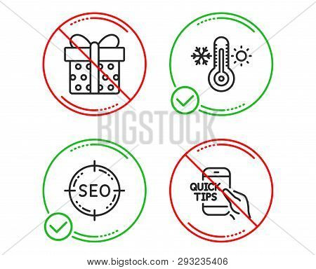 Do Or Stop. Seo, Gift Box And Thermometer Icons Simple Set. Education Sign. Search Target, Present P