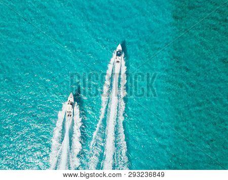 Drone Bird View Of Exuma In The Bahamas. Summer Vaction