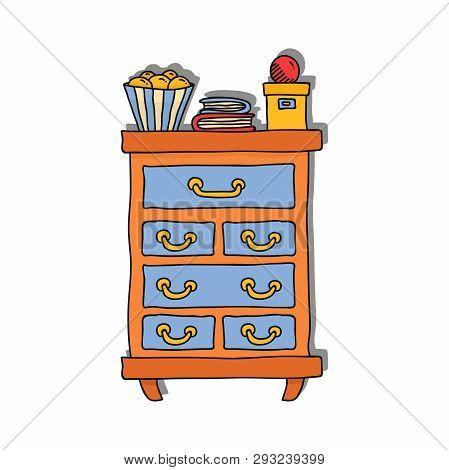 Bureau home colorful doodle cartoon furniture vector illustration poster