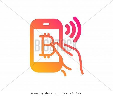 Bitcoin Mobile Pay Icon. Cryptocurrency Sign. Crypto Money Symbol. Classic Flat Style. Gradient Bitc