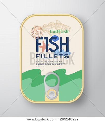 Fish Fillets Aluminium Container With Label Cover. Abstract Vector Premium Canned Packaging Design.