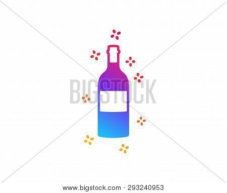 Wine Bottle Icon. Merlot Or Cabernet Sauvignon Sign. Dynamic Shapes. Gradient Design Wine Bottle Ico