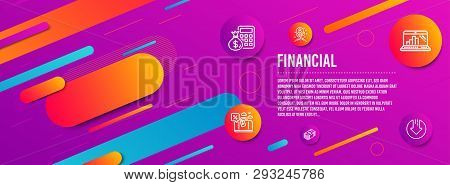 Header Banner. Finance Calculator, Bitcoin Project And Graph Laptop Icons Simple Set. Travel Loan, U