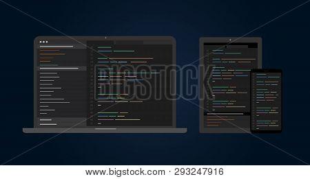 Cross Platform Software Development. Set Of Electronic Devices Use Cross-platform Web App Developmen