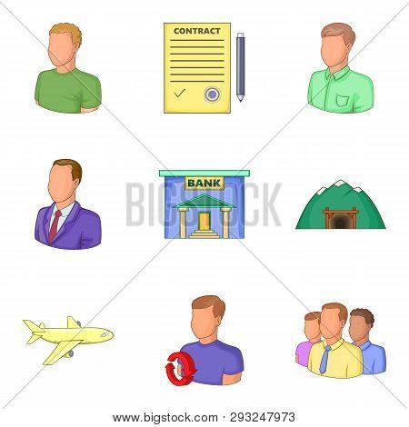 Bank Clerk Icons Set. Cartoon Set Of 9 Bank Clerk Icons For Web Isolated On White Background