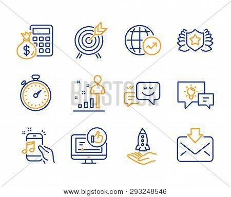 Idea lamp, World statistics and Stats icons simple set. Happy emotion, Crowdfunding and Finance calculator signs. Music phone, Archery and Like video symbols. Line idea lamp icon. Colorful set poster