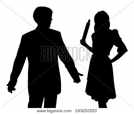 Angry wife holding rolling pin and puzzled confused husband with open hands making helpless gesture. poster