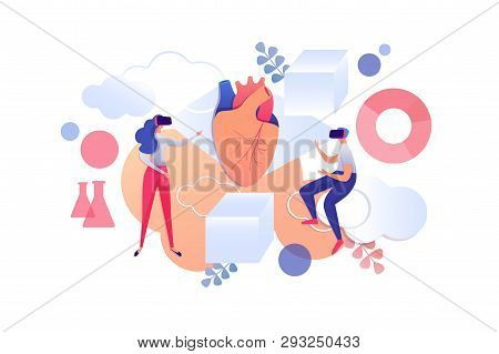 Learning Medicine With Virtual Reality Glasses. Vector Illustration On White Background. In Foregrou