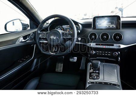 Minsk, Belarus - June 20, 2018 Dark Interior Of Kia Stinger