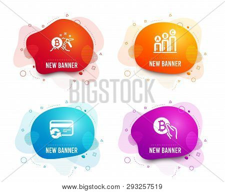 Liquid Badges. Set Of Change Card, Bitcoin Mining And Graph Chart Icons. Bitcoin Pay Sign. Payment M