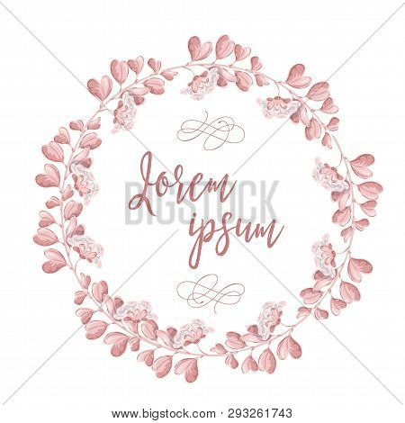 The Wreath Of Pink Flowers. Round Romantic Flower Frame And Lettering Happy Wedding Day . Vector Han