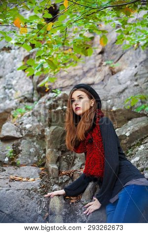 beautiful girl in nature. Makeup and Hairstyle