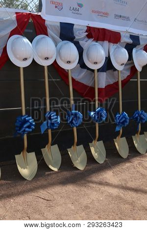 LOS ANGELES - APR 2:  Groundbreaking Ceremonial Shovels at the Dodgers Dreamfield 51 Universally Accessible Field Groundbreaking Ceremony at the Jack Bulik Park on April 2, 2019 in Fontana, CA