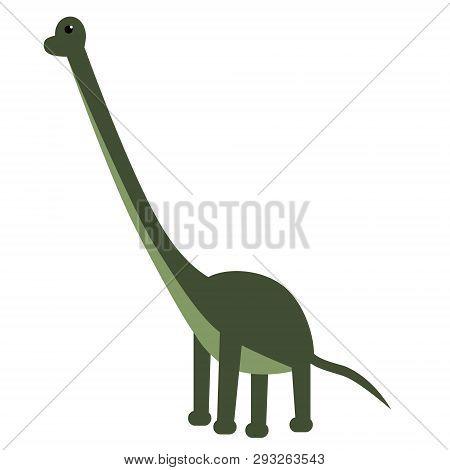 Brachiosaurus Flat Illustration On White. Animals And Wild Life Series.