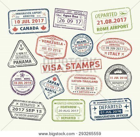 Isolated Set Of Visa Passport Stamp For Travel To Canada Or Usa, Uk Or China, Venezuela Or Dominican