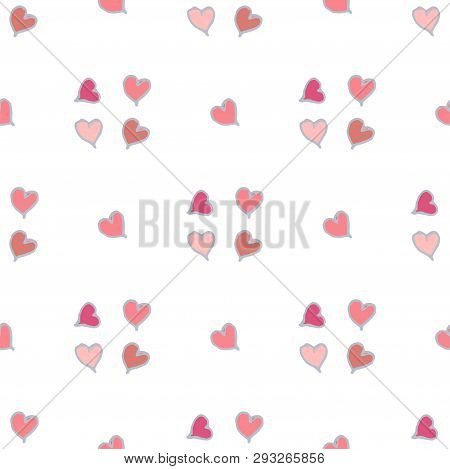 Vector Seamless Pattern With Red Small Hearts
