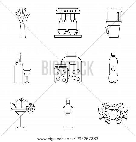 Brine Icons Set. Outline Set Of 9 Brine Icons For Web Isolated On White Background
