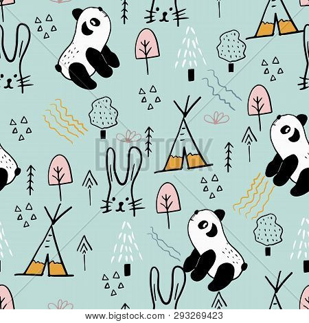 Scandinavian Woodland Seamless Pattern With Panda, Hare And Forest Elements. Vector Illustrarion.