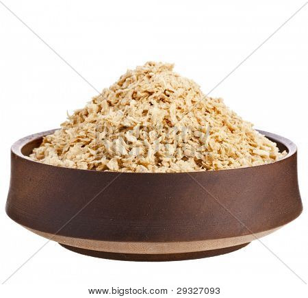 poster of raw soy meat alternative food  in wooden bowl   isolated on white