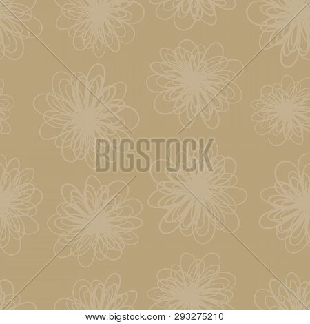 Earth Tone Subtle Flower Texture Seamless Vector Background. Repeating Pattern Of Abstract Florals I