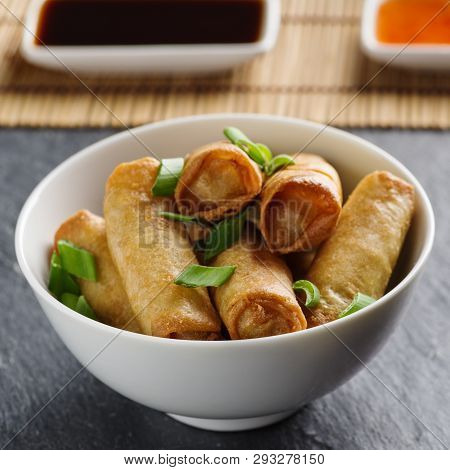 Fresh Spring Rolls With Vegetables In Small Chinnese Dishware.