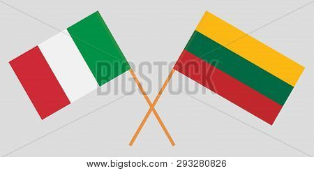 Italy And Lithuania. The Iitalian And Lithuanian Flags. Official Colors. Correct Proportion. Vector