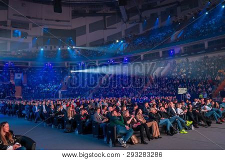 Moscow, Russia - March 13, 2019: People attend business conference in large congress hall