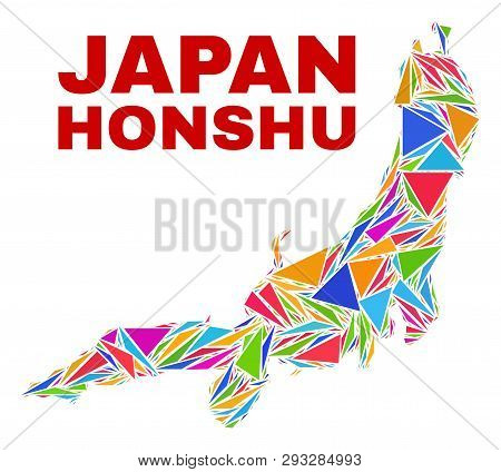 Mosaic Honshu Island Map Of Triangles In Bright Colors Isolated On A White Background. Triangular Co