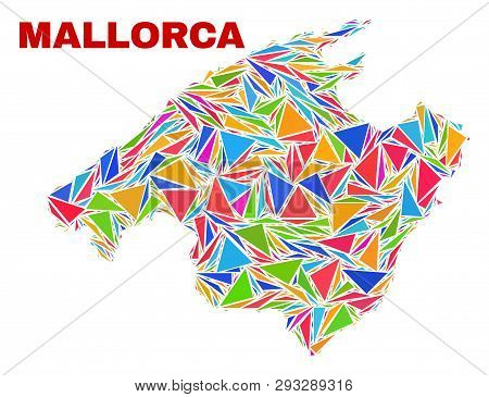 Mosaic Mallorca Map Of Triangles In Bright Colors Isolated On A White Background. Triangular Collage
