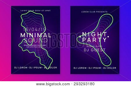 Electronic Event. Bright Concert Magazine Set. Dynamic Gradient Shape And Line. Neon Electronic Even