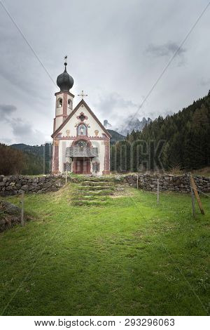 Beautiful Church Of St John Of Nepomuk (chiesetta Di San Giovanni) In Ranui, Val Di Funes, Dolomites