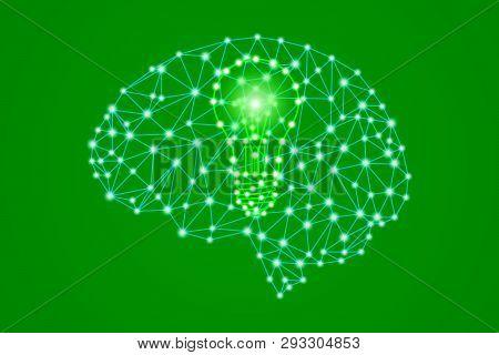 Green Lightbulb Sign In Polygonal Low Poly Plexus Human Head Brain, Smart Eco Bio Creative Idea Conc