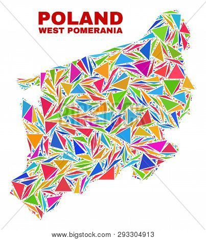 Mosaic West Pomeranian Voivodeship Map Of Triangles In Bright Colors Isolated On A White Background.