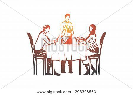 Couple, Restaurant, Table, Waiter Concept. Hand Drawn Romantic Date In Restaurant Concept Sketch. Is