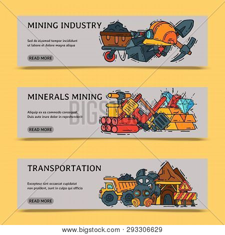 Mining Industry Set Of Banners Vector Illustration. Profession And Occupation. Coal Mining Equipment