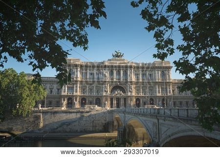 Historical Building, Statues And Architecture Details In Rome, Italy: The Supreme Court Of Cassation