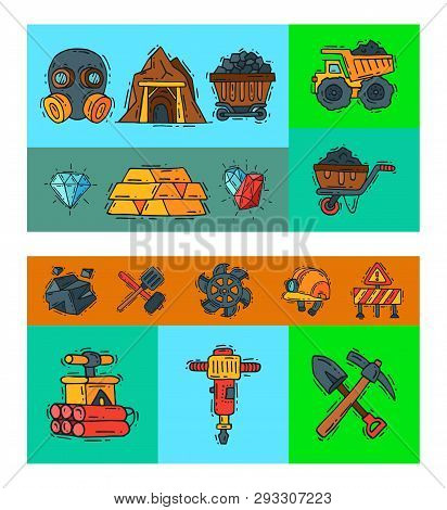 Mining Industry Vector Illustration. Profession And Occupation Of Miner. Coal Mining Equipment, Mine