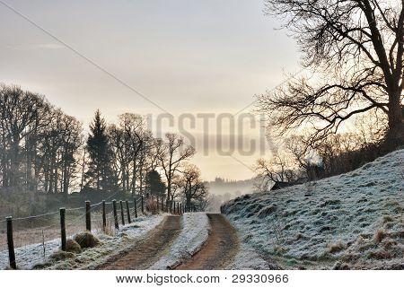 Frozen Farm Track At Sunrise