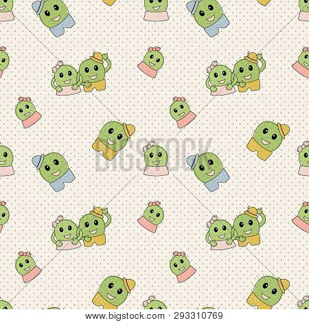 Cute Simple Naive Seamless Pattern With Funny Cactus: Girl With Bow And Boy With Hat On Polka Dots B