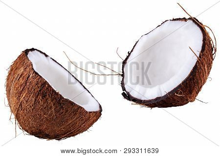 Chopped Coconut Into Two Halves. Coconut Isolated On The White Background.