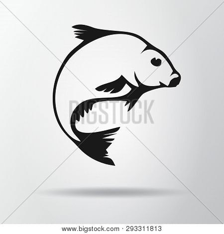 Black Fish Logo Isolated On Gray Background With Shadow. Bream Icon, Symbol. Abramis Brama. Vector I