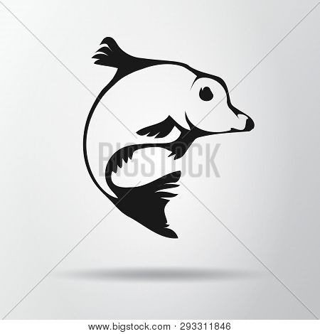 Black Fish Logo Isolated On Gray Background With Shadow. Carp Icon, Symbol. Cyprinus Carpio. Vector