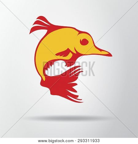 Goldfish Logo Isolated On Gray Background With Shadow. Fantastic Fish Icon, Symbol, Sign. Vector Ill