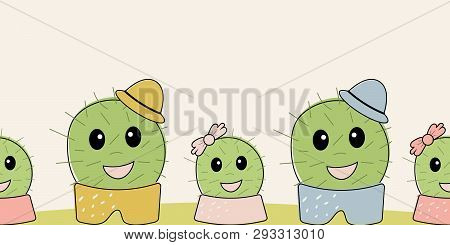 Cute Simple Naive Seamless Border With Funny Cactus: Girl With Bow And Boy With Hat On Polka Dots Ba