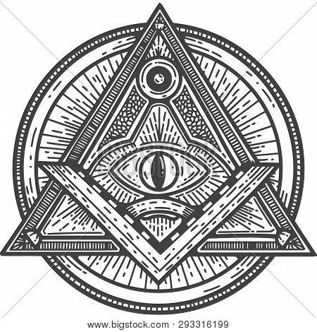 Quare And Compass Masonic Occultism Black White Eye Of Providence Illuminati  Illustration