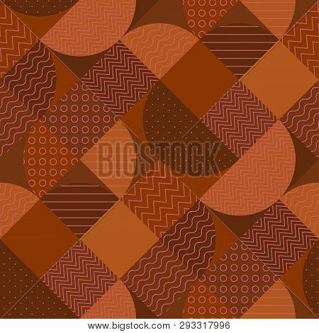 Modern Geometric Patchwork Seamless Pattern In Terra Cotta Colors. Elegant Flat Geometry Repeatable
